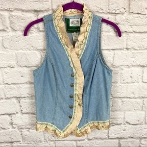 Vintage Chambray Ruffle Lace Button Vest